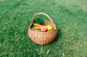 Veggies in a basket in the grass.